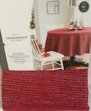"THRESHOLD OBLONG TABLECLOTH RED SILVER SPARKLE ROUND 70"" HOLIDAY PARTY"