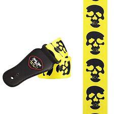 Black Skull on Yellow Guitar Strap (2503) skulls rock metal djent goth gothic