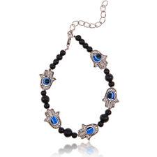 Retro Hamsa Fatima Hand Evil Eye Tibetan Silver Beaded Charm Chain Bracelet Hot