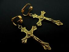 A PAIR OF GOLD COLOUR DANGLY CROSS CRUCIFIX  CLIP ON EARRINGS.  NEW.