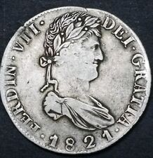 Mexico 1821 Zacatecas R.G. 8 Reale Ferdi VII War Of Independence Milled Bust