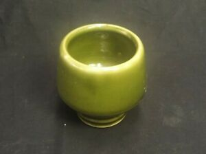 """OLIVE GREEN GLAZED POTTERY CUP/SMALL PLANTER SIGNED M M 3.5"""" TALL X 3.5"""" ACROSS"""