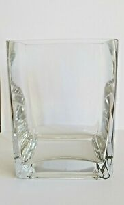 Elegant stylish clear glass rectangle vase