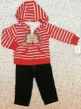 NWT BABY BOYS SIZE 12 MONTHS CARTERS 3 PC. MONKEY HOODIE JEANS & TOP OUTFIT NEW