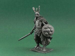 Tin toy soldier Vercingetorix. Chieftain of the Arverni. Metall sculpture 54 mm
