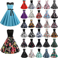 Womens Vintage Style 1950s 60s Rockabilly Evening Party Prom Gown Swing Dress