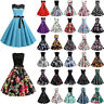 Women 50s Vintage Pinup Evening Party Rockabilly Prom Ball Gown Swing Midi Dress