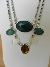Lucky Brand Silver-Tone Multicolorf Stone Two-Row Frontal Necklace MSRP $65