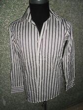 180 H16 Hugo Boss Camisa de Hombre Kw 38 Talla S Púrpura Blanco a Rayas Algodón