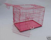 "42"" 3 Door Pink Folding Dog Crate Cage Kennel w/DIVIDER"