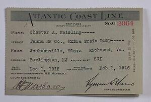 Railroad Pass Atlantic Coast Line Chester Keisling Dec 1 1915