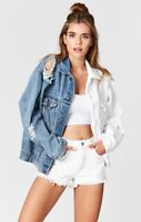 LF Carmar white/blue oversize distressed two tones Audrey denim jacket sz S $268