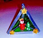 "Christmas Nativity Ornament Stained Glass Sun Catcher Wood figure 2 1/2"" Vtg."