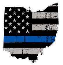 Ohio State (V36) Thin Blue Line Vinyl Decal Sticker Car Laptop Cop