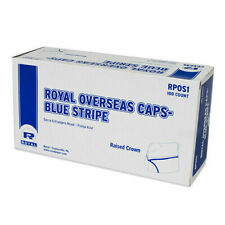 *Royal Overseas White Chefs Caps/Hats, Blue Stripe Pack of 100, New Rpos1*