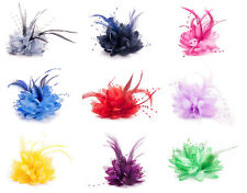 Flower Feather Fascinator Bead Beak Hair Clip Brooch Pin Ladies Day Ascot Races