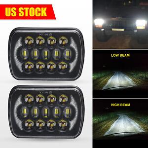 "5x7"" 7x6"" LED Projector Headlights Halo DRL For Toyota Pickup Hardbody D21 240SX"