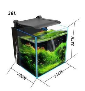 28L Desktop Cube Glass Aquarium LED Light Fish Tank Integrated Filter