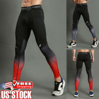 Men Sport Running Long Pants Gym Compression Quick Dry Fitness Leggings Trousers