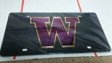 Awesome Carbon Fiber University of Washington Huskies License Plate + Free Bonus
