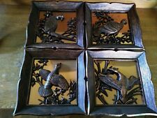 """Vintage 1963 """"Coppercraft Guild"""" Set Of 4-3D-Wall Hanging Bird Pictures!"""