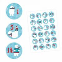 24 Adventskalender Zahlen Aufkleber Eisbären - rund 4 cm Ø - Sticker Weihnachten