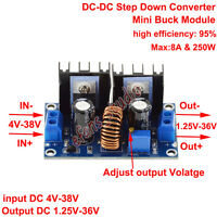DC-DC Step down Buck Converter 250W 4-38V To 1.25-36V 9V 24V Power Supply Module