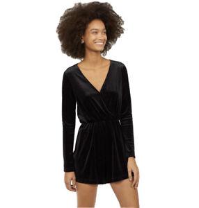H&M Divided Womens 8 Velour Sparkle Romper Surplice Wrap Front Black Silver