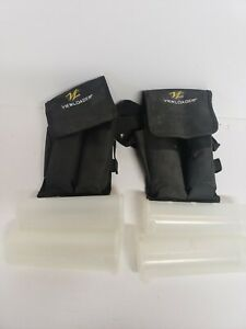 4 Paintball Reload Tubes, Pouches And Belt 400 Capacity View Loader