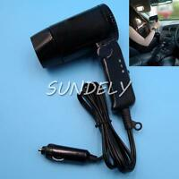 NEW 12V Black Compact Travelling Festival & Camping Portable In Car Hair Dryer