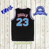 Michael Jordan Space Jam Jersey Tune Squad Basketball KIDS Black #23 Stitched