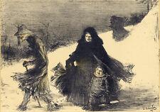 """1897 original lithograph L'Estampe Moderne """"Noel"""" Charles Leandre"""