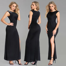 Ever-Pretty Sexy High Split Black Chiffon Party Evening Cocktail Prom Gown Dress