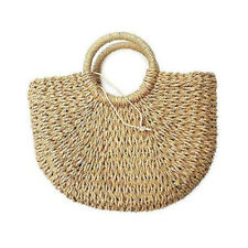 Natural Hand-woven Handle Straw Tote Retro Medium Casual  Women  Handbag