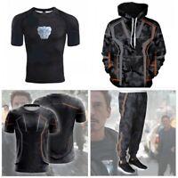 Avengers: Infinity War Tony Cosplay Hoodie Zipper Coat Jacket Pants Set T-Shirt