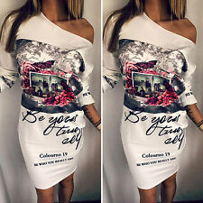 Womens Sexy One Shoulder Bodycon Stretch Long Sleeve Evening Summer Party Dress
