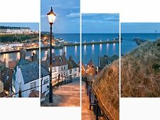XX Large 4 Panel Set Whitby Yorkshire Fishing Village Canvas Picture Wall Prints