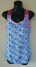 MINE sleeveless braided racerback top blouse pink blue geometric small s