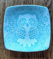 ROSCHER COLLECTION Blue Appetizer Salad Dessert Plate LACE OWL Square Dish