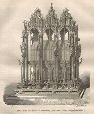 A5107 Nuremberg - La Chasse de S. Sèbald - Xilografia - Stampa antica del 1843