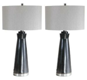 """PAIR MODERN CERAMIC XXL 31"""" ACCENT TABLE LAMP BRUSHED NICKEL METAL UTTERMOST"""