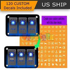 12V/20A 3-Gang 5PIN Laser Rocker Switch Panel Kit Car Truck Boat Blue Led Button