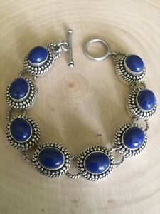artisan crafted India dp sterling silver lapis link toggle bracelet 7.5 inch EUC