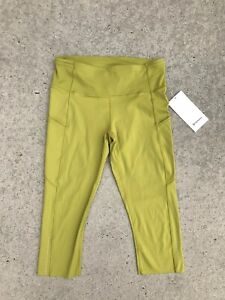 """LULULEMON Fast and Fre HR Crop 19"""" Women's Leggings Golden Lime Size 10 NEW $118"""