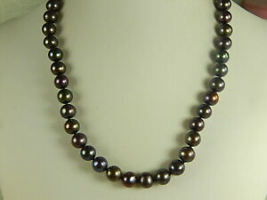 """PEACOCK Cultured PEARL NECKLACE Sterling Clasp 17"""" Strand 9mm MINT Unused"""