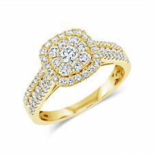 1.00 Ct Round Cut Natural Diamond 14k Yellow Gold Halo Engagement Ring