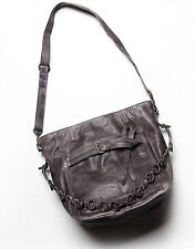 Free People Enfield Leather Hobo Bag Grey Black Chain Large Festival OFFERS