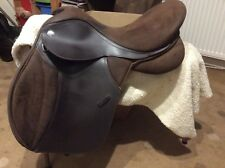 Brown thorowgood synthetic saddle 17.5 inch. medium gullet currently in situ