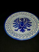 "Phoenix Bird Dinner Plate 9""W Blue And White"