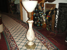 Vintage Paul Hanson Table Lamp-Gilded Gold-Gold Floral Patterns-Glass Shade-#2
